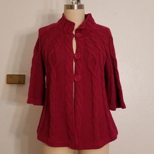 Pink Cabled Short Sleeve Cardigan Sweater Size M